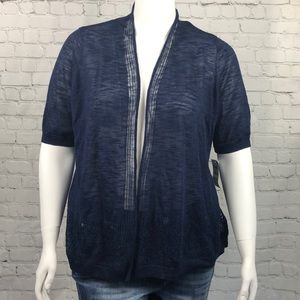Charter Club Light Open Front Navy Cardigan 1X